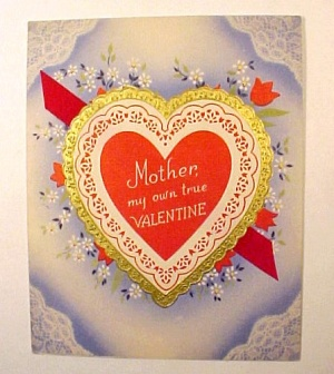 Vintage 1940s Valentine Day Card Mother Ribbon Heart (Image1)