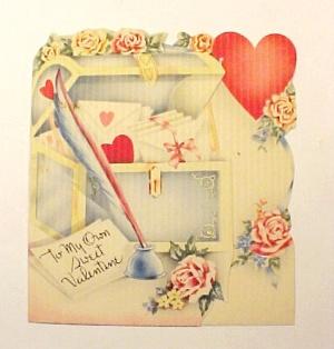 Vintage 1940s Valentine Day Card Roses Love Letter (Image1)
