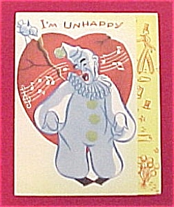 Vintage 1940s Valentine Day Card Singing Circus Clown (Image1)