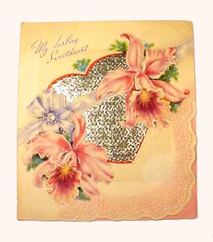 Vintage 1940s Valentine Day Card Orchids Lace Heart (Image1)