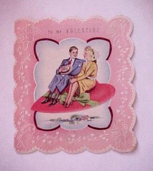 Vintage 1940s Valentine Day Card Heart Magic Carpet (Image1)