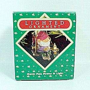 1987 Hallmark Christmas Tree Ornament North Pole Power & Light Lighted (Image1)