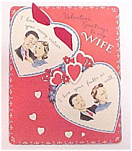 Vintage 1940s Valentine Day Card Wife Hearts Love (Image1)