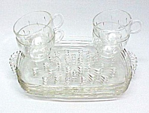 Hazel Atlas Informal Teardrop 8 pc Snack Set Trays Cups (Image1)