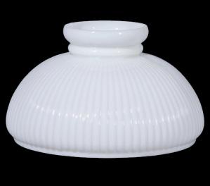 Lamp Shade 10 in Low Top Student Milk Glass Ribbed Kerosene Oil (Image1)