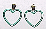 Valentine's Day Green Heart Dangle Post Earrings (Image1)