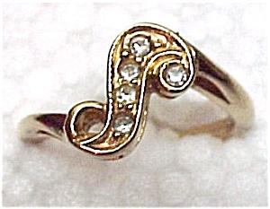 Avon S Swirled Rhinestone Ring Goldtone Size 7 (Image1)
