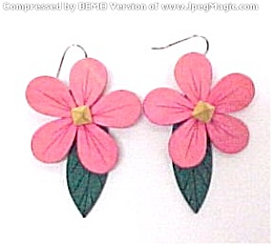MOD Retro Flower Power Wooden Disco Dangle Earrings (Image1)
