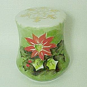 Lefton Poinsettia Holly Salt Pepper Shaker Christmas (Image1)