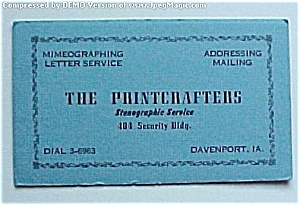 Vintage Davenport Iowa IA Ink Blotter - Printcrafters (Image1)