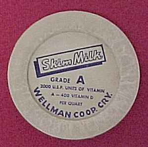 Wellman Coop Creamery Iowa Dairy Milk Cream Bottle Cap