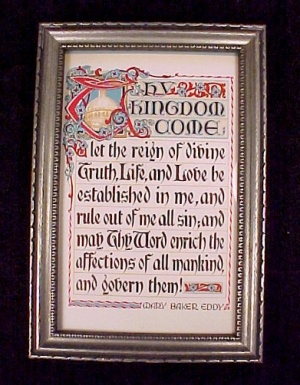 Mary Baker Eddy Vintage Motto Print Thy Kingdom Come Wood Framed