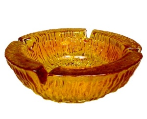 Blenko Orange Yellow Amber 6 inch Ashtray (Image1)