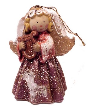 Porcelain Angel w/ Harp Christmas Tree Ornament (Image1)