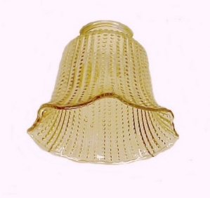 Beaded Ribbed 2 1/4 in Amber Bell Light Shade Chandelier Ceiling Fan (Image1)
