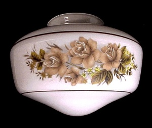 Schoolhouse 4 X 6 X 8 Ceiling Fan Light Globe Shade White Glass Roses