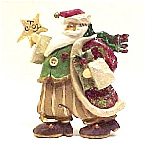 Party Santa Decked Out In Finery Joy Star Heart Bell