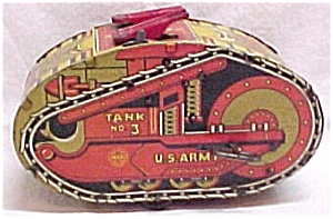 Louis Marx  U.S. Army Tank #3 Windup Wind Up Tin Toy Vintage Military (Image1)