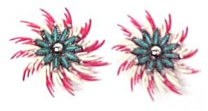 Vintage Plastic Pinwheel Turquoise Flower Clip Earrings (Image1)