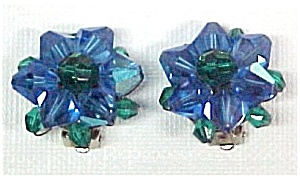Vintage Blue Aurora Borealis AB Crystal Bead Earrings (Image1)