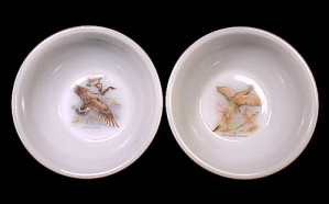 2 Fire King Anchor Hocking Wild Game Bird Cereal Bowls (Image1)