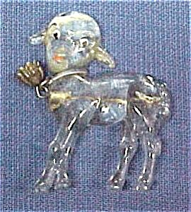Vintage Child's Pin Clear Plastic Lamb w/ Bell Sheep (Image1)