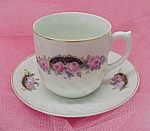 Antique Bavaria Roses Floral Bouquet China Cup & Saucer (Image1)