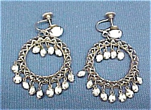 Moonstone Circle Dangle Art Deco Hoop Screw Earrings (Image1)