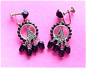 Black Glass Circle Dangle Art Deco Hoop Screw Earrings (Image1)