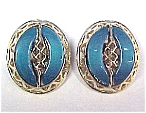 Vintage Thermoset Plastic Clip Earrings Turquoise Teal (Image1)
