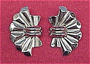 Barclay Silvertone FAN Clip Earrings Vintage (Image1)