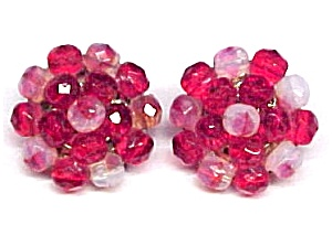 Ruby Red Opalescent Beaded Clip Earrings West Germany (Image1)