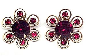 Ruby Red Rhinestone Flower Clip Earrings (Image1)