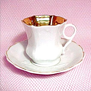 Vintage Child Demitasse China Cup Saucer with Gold Gilt (Image1)