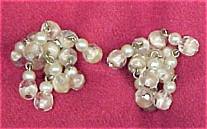 VNTG Opalescent Bead Faux Pearl Dangle Screw Earrings (Image1)