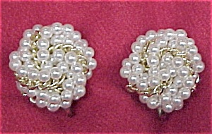 Vintage Faux Pearl Gold Link Knotted Clip Earrings (Image1)