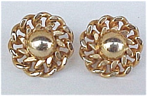 Vintage Goldtone Flower Screw Earrings (Image1)