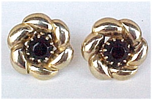 Vintage Goldtone Black Glass Flower Screw Earrings (Image1)