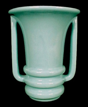 Camark American Art Pottery Handled 7 in Vase Aqua Blue (Image1)
