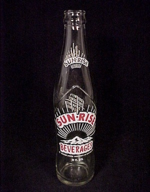 Sun-rise Beverages Soda Pop Glass 10 Oz Bottle Vintage