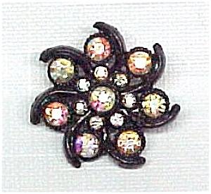 Aurora Borealis Swirled Floral Pin Brooch Vintage AB (Image1)