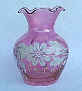 Cranberry Flash Hand Painted Floral Glass Vase Vintage