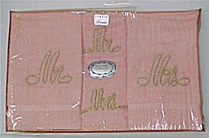 Vintage Dundee Mr And Mrs Peach Towel Gift Box Set Nib