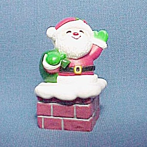 1984 Hallmark Santa on Chimney Christmas Ornament Candy Container (Image1)