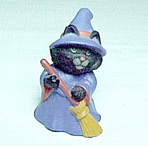 1991 Black Cat Halloween Witch Hallmark Merry Miniature Figurine (Image1)