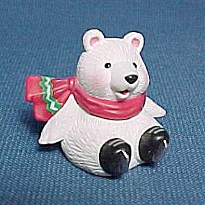 1994 Hallmark Merry Miniature White Bear on Skates Christmas Ornament (Image1)