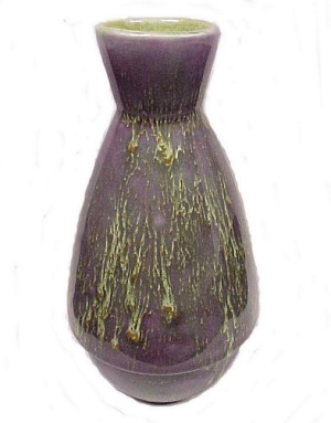 Lavender & Chartreuse Drip Glaze 5 1/2 In Pottery Vase
