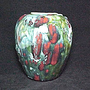 Ceramic Pottery 5 in Vase Drip Foam Gloss Glaze Vintage (Image1)