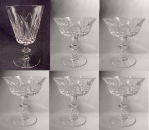 6 Lead Crystal Cut Glass Lotus Blossom 5 Sherbet 1 Water Goblet