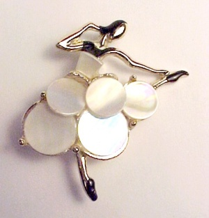 Ballerina Pin Brooch Enameled MOP Mother of Pearl (Image1)